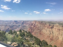 You can see the stark transition between the Grand Canyon walls and the desert.