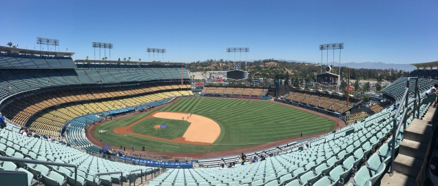 A panoramic of Dodger stadium in LA.