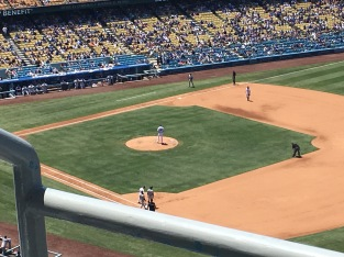 The game in session at Dodgers Stadium.