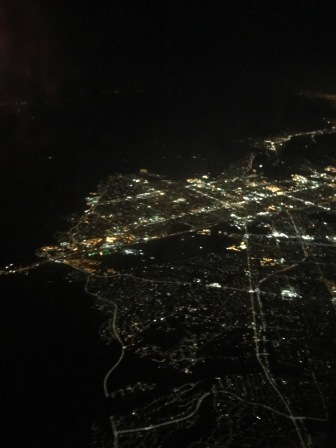 A spectacular view of city lights from 30,000 feet in the air.