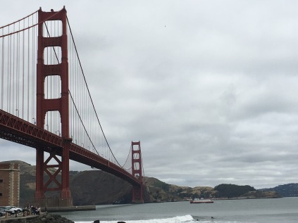 The beautiful Golden Gate Bridge against a cloudy sky.