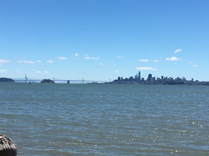 A view of the Golden Gate and San Francisco from Sausalito.