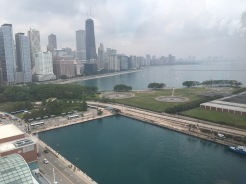A view of the Chicago skyline from Navy Pier's centennial wheel.