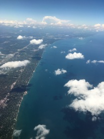 Small clouds cast very interesting shadows over the coast of Lake Michigan.