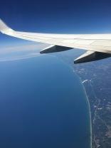 Coming in over Lake Michigan.