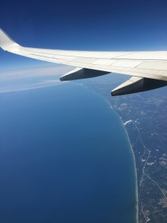 Coming in over Lake Michigan.