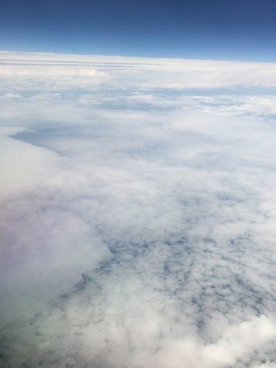 Nothing but sheets of cloud.
