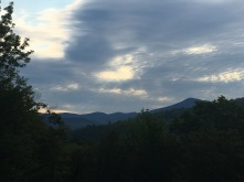 A view of the White Mountains during a sunset from my bedside window during our trip to New Hampshire.