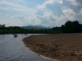 A view of the mountains while tubing down the Saco River on a trip to New Hampshire.