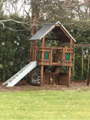 And to keep warm and dry, Mac finds his way up to the second floor of the playscape, and remains there for hours on end, doing nothing but looking around and returning to the shed for the occasional meal. So cute!