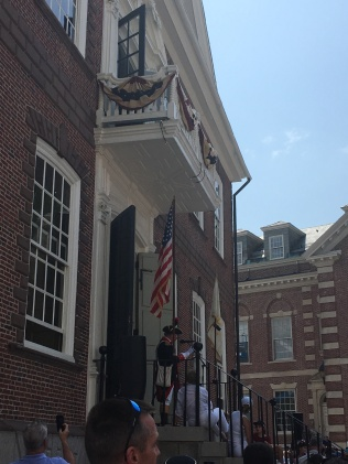 A reading of the Declaration of Independence at the Colony House