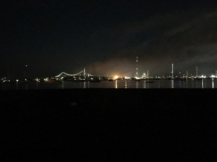 A view of Newport Harbor at night.